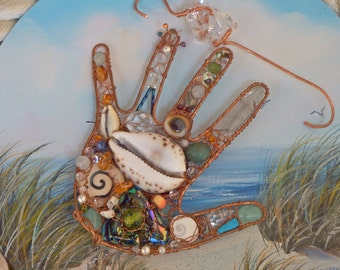 Paradise Cove a Gemstone Shell Rock Crystal Quartz Pearl Swarovski Crystal Copper Hand Sculpted Ornament with a crystal hook by kgkiser 2014