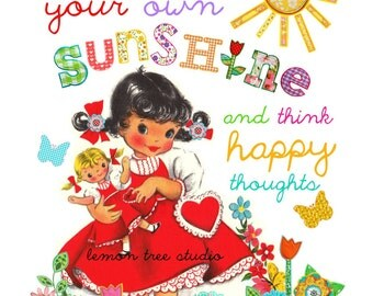 Bring Your Own Sunshine & Think Happy Thoughts Wall Art, Print, Decor -- Vintage Girls Collection