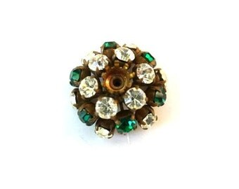 SWAROVSKI flower BEAD antique vintage  metal flower with green and clear crystals- RARE