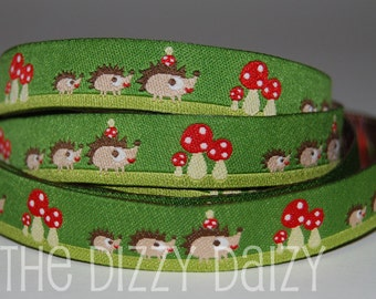 Hedgehog Family Jacquard Ribbon