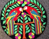 Vintage wool parrot rug  South American