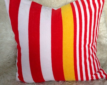 vintage terry beach towel or pillow cover 18x18