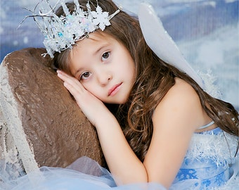 Winter Ice Fairy  Crown for Women and Girls Winter Snow Fairy Costume Crown