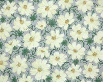1940s Vintage Wallpaper by the Yard - Floral Vintage Wallpaper Yellow Daisy Floral on Gray