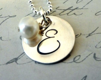 Hand Stamped Sterling Initial Necklace -  Personalized Sterling Silver - Pearl