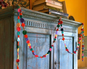 felt circle garland in bright colors 10 feet