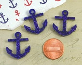 PURPLE GLITTER ANCHORS - 3 Pieces - In Laser Cut Acrylic