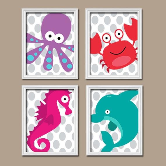 Ocean BATHROOM Wall Art CANVAS Or Prints Nautical Bathroom Decor Kid