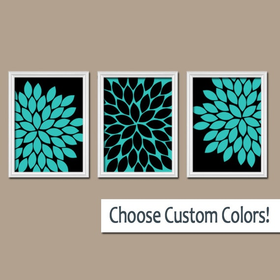 Turquoise Black Wall Art Bedroom Canvas or Prints by TRMdesign