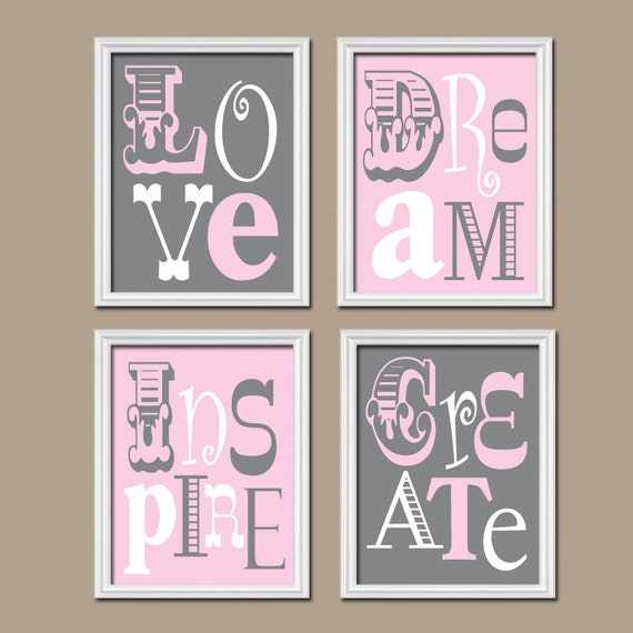 Pink gray nursery love quote baby girl nursery wall art girl for C meo bedroom wall dress