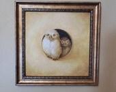 Owl Birds painting framed original ooak tromp l'oeil art with frame baby birds