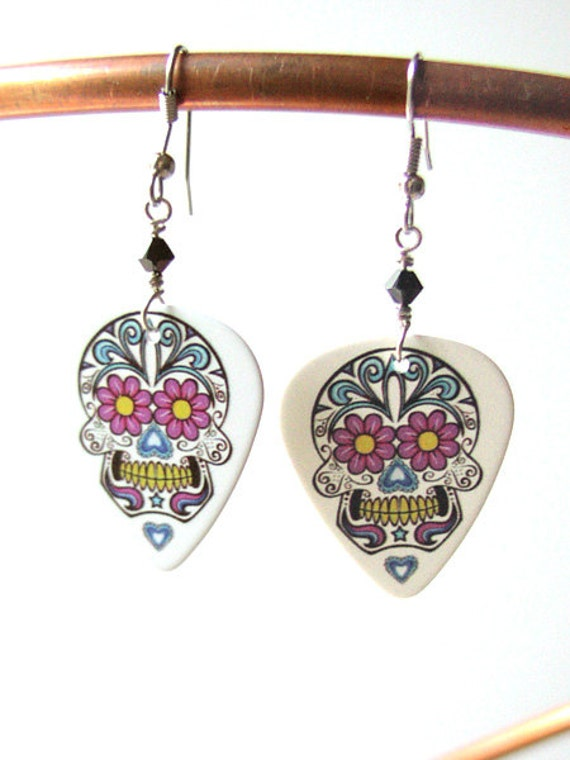 Sugar Skull Guitar Pick Earrings day of the dead dia de los muertos pastel goth wedding shower gift Halloween calavera folk art party favors