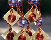 Shades of Blue Suncatcher with Copper Wrapped Glass Marbles & Sparkling Brass  Accents, Garden Decor, Yard Art