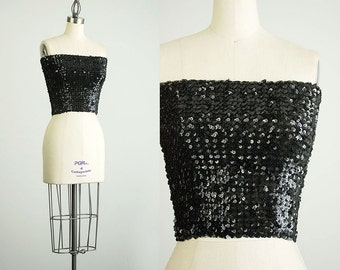 80s Vintage Black Sequin Stretch Cropped Body Con Tube Top / Size Small