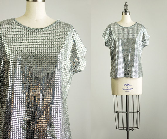 90s Vintage Silver Sequin Disco Ball Box Shirt / Small