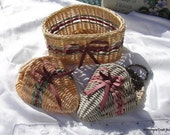 Woven Wicker Basket and Sconces- Maybe Vintage- Gift, Floral, Craft