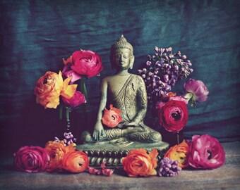"Buddha wall art print meditation yoga room decor ranunculus flowers charcoal gray gold ""Buddha Offering"""