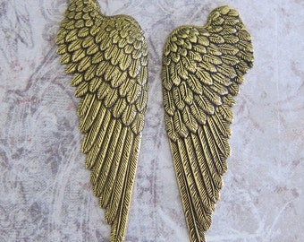 NEW 2 Large Brass Wing Findings 3438B