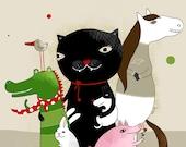 Animal illustration - Cat - Dog - Crocodile - Pig - Dog - Bunny - Bird - Horse - Nursery room
