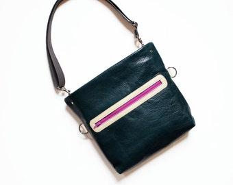 Leather Crossbody Purse / Leather Satchel for Women / Shoulder Bag - The Abby Satchel in Emerald Green