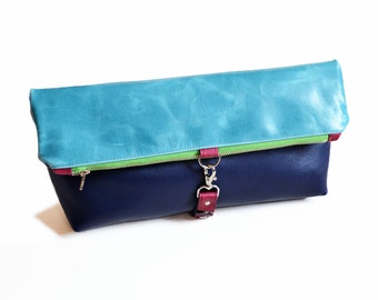 Leather Clutch / Travel Bag - The Lulu Travel Foldover Clutch in Light Turquoise and Royal Blue