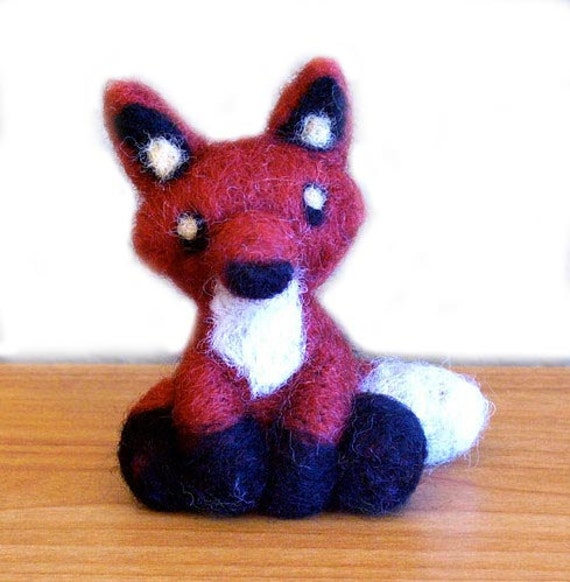 Needle Felted Fox Soft Sculpture Figurine - 5 Inches Tall Figure - Made to Order - Felt Red Woodland Art Doll