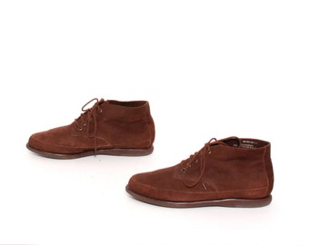 size 8.5 PLATFORM brown leather 80s 90s GRUNGE chukka lace up ankle booties