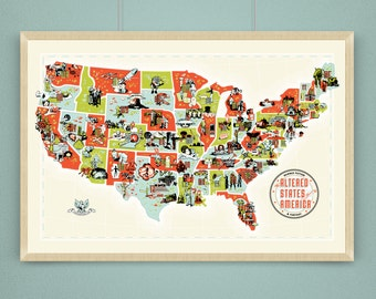 Altered States of America Limited Edition Screen Print (SciFi/Fantasy map of the USA)