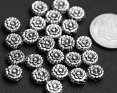25 pcs of antiqued silver pewter flower spacer beads 8x3.5mm