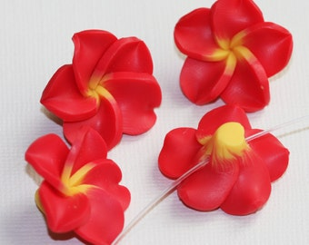 4 Polymer clay flower Hawaiian Red Plumeria flower 25mm