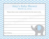 24 Personalized Baby Shower Advice Cards - BLUE  ELEPHANT