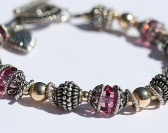 Pink swarovski crystal bracelet