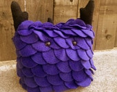 Cecil - Purple Plushie Monster / Purple and Black Fleece / Monster Stuffed Animal / Plush Monster / The Zibits -  Size 9 x 10
