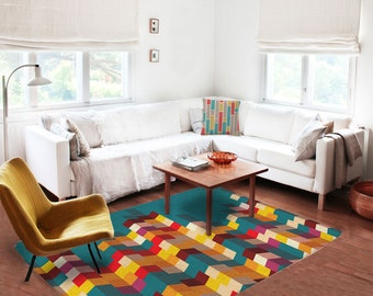 Decorative Rug, Modern Rug, Carpet, Contemporary Rug, Colorful Rug,  Geometric Rug Part 53