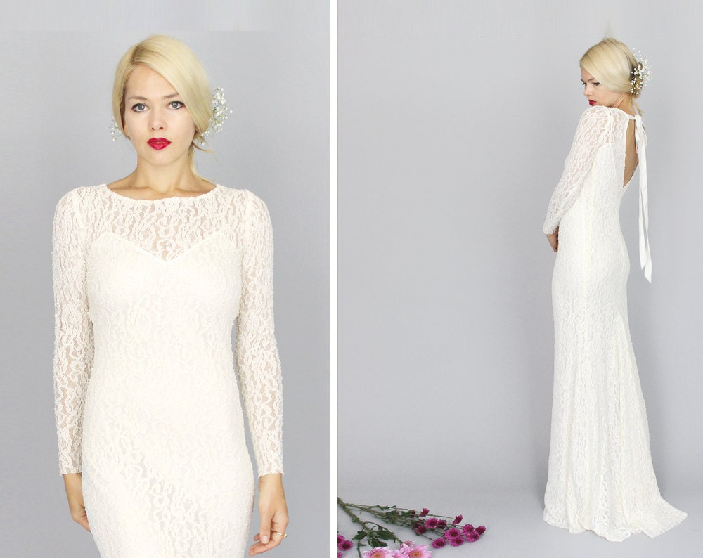 Simple Wedding Dresses With Lace Sleeves: Célestin: Boho Hippie Vintage Lace Dress Long Sleeve By