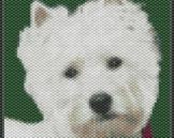Westhighland Terrier,  Smaller Amulet Bag Size Beaded Tapestry Pattern