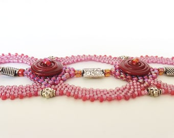 Wine and Roses Disc Beadweaving Bracelet