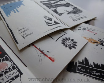 A small screenprint zine/booklet on the theme of crows are hares.