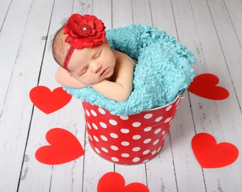 Valentines Day Sweetheart Galvanized Metal Bucket Retro Red and White Polka Dot Newborn Baby Photo Prop
