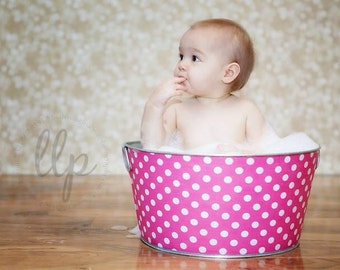 Baby Prop Large Round Galvanized Party Tub Bubble Gum Pink and White Polka Dot
