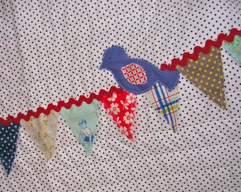 Pennant Bunting Baby Quilt--Sale-Free Shipping