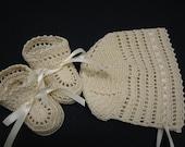 Christening Crochet Bonnet and Booties Baby Boy Cream Ribbons Newborn or Reborn Doll
