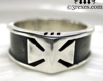 Mens Black Silver Ring Iron Cross Wedding Band Knights Templar Size 13