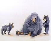 2. Bear Art PRINT Forest animal watercolor painting / Whimsical nursery art Kids Children's art print babys decor / black bear / Wall Decor