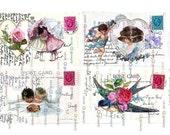 FRIENDSHIP VALENTINE Birthday LOVE Romance Card Digital Download Instant Printable Vintage Postcard Papercrafts Scrapbooking  Invitations