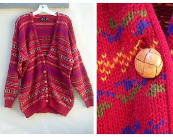 90s slouchy cardigan / vintage boyfriend sweater  / RED blue mustard cotton oversize sweater / Liz Sport womens large xlarge