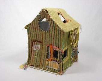 Original Fabric Sculpture- Word House Persist-Freestanding Miniature House-Free Shipping