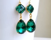 Angelina Jolie Inspired Emerald Green Stone Gold Dangle Earrings