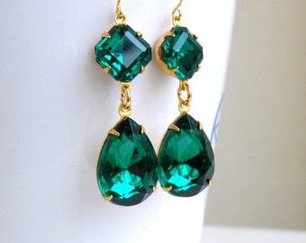 Angelina Jolie Inspired Emerald Green Stone Gold Dangle Earrings