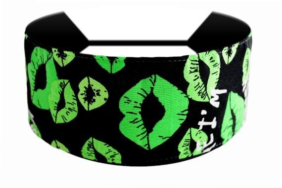 Kiss Me I'm Irish, St. Patricks Day, Cute Green Irish Lips Print Headband By Bargain Headbands